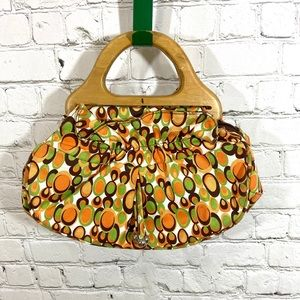 Vintage 70's Wooden Handle Purse